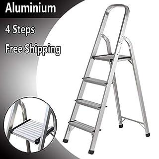 Trittleiter, 4 Stufen, rutschfest, Leiter aus leichtem Aluminium für Zuhause, Küche, Büro, Lager, Gebrauch