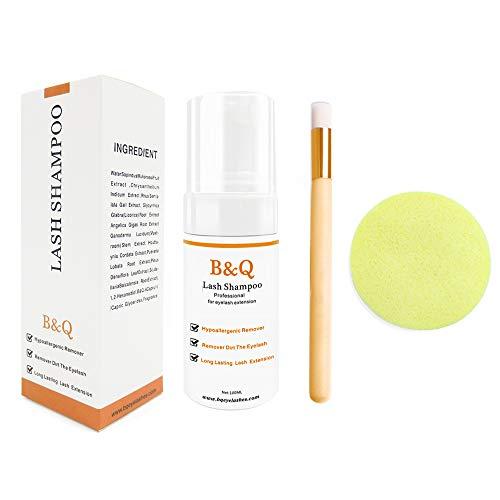 B&Q Lash Cleanser - Schaum 100ml Wimpern Shampoo/Wash Wimpernverlängerung sicher für den täglichen Gebrauch und ist Öl frei mit Spülen Flasche und weichen Pinsel