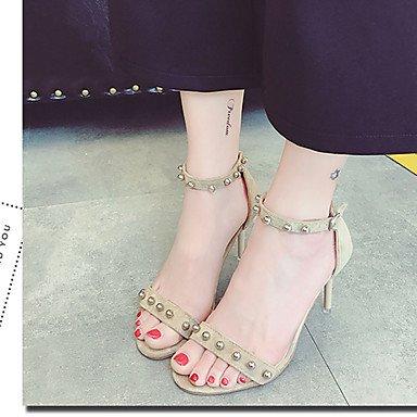 LvYuan Da donna Sandali Comoda PU (Poliuretano) Estate Comoda A stiletto Nero Beige 10 - 12 cm beige