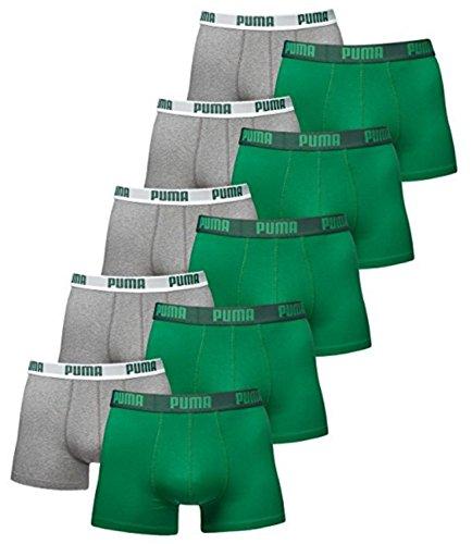 PUMA Herren Basic Boxer Boxershort Unterhose 10er Pack Amazon Green