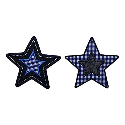 2 Patches star blue karo 9x9 cm patch cloth patch