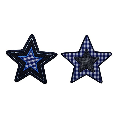 2-iron-on-patches-stars-9x9cm-trickyboo-craft-arts-decorating-hearts-kangaroos-rural-oriental-scient