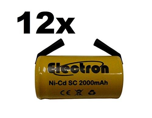 12 X Batteria Pila SC 2000mAh 2.0Ah Ni-Cd 1,2V con lamelle a saldare per pacchi batterie trapani torce allarmi