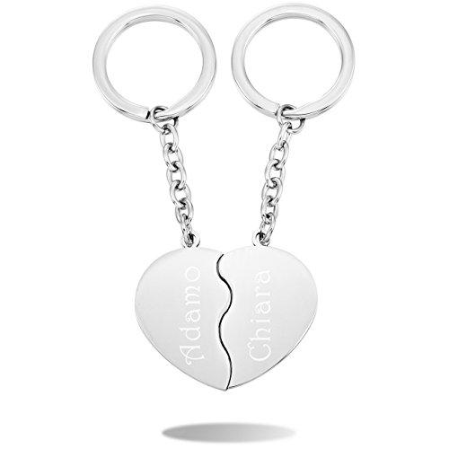 Memediy tono argento acciaio inossidabile portachiavi cuore paar - personalizzato incisione