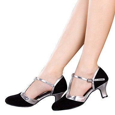 Silence @ Chaussures de danse pour femme en velours Latin/paillettes scintillantes/synthétique Talon cubain Noir/marron/argenté/doré Silver