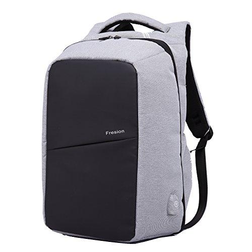 """Fresion Sac à Dos pour Ordinateur Portable ou Tablette PC 15.6""""Sac Imperméable Système D'alimentation Autonome par Port USB pour Homme et Femme (Gris)"""