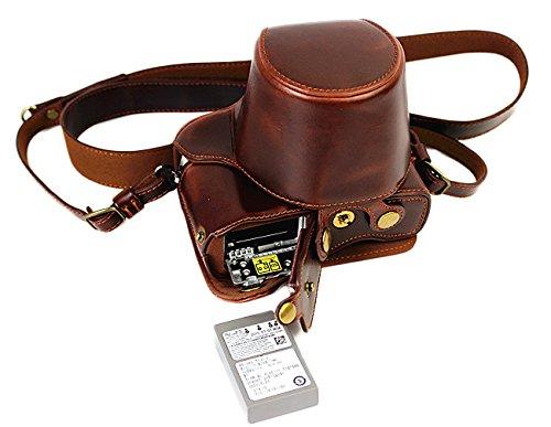 Protección completa inferior abertura de la caja Versión PU de protección de la cámara del bolso de cuero con el trípode Diseño compatible para Olympus OM-D E-M10 Marcos 2 EM10 Mark II con 14-42mm F3.5-5.6 II lente de R con la correa del cuello del hombro de la correa de Brown oscuro