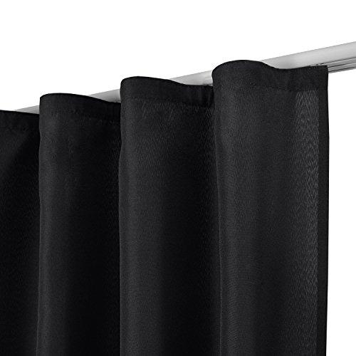 Beautissu Blickdichter Kräuselband-Vorhang Amelie – 140×245 cm Schwarz – Dekorative Gardine Universalband Fenster-Schal - 2
