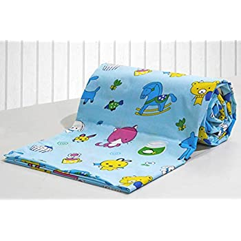 AURAVE Kids Funky Blue Teddy Print 1 Piece Cotton Duvet Cover/Quilt Cover/Blanket Cover, Single Bed (with Zipper)