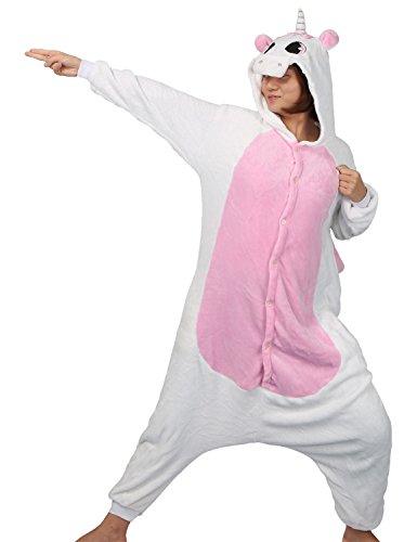 Pigiama o costume di carnevale halloween pigiama cosplay party onepiece intero animali unicorno regalo di compleanno per adulti adolescenziale ragazzi (l(168-178cm), rosa)