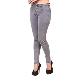 Jannon Grey Color Slim Fit Denim for Women 2