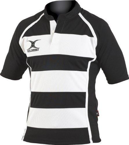 Gilbert Rugby-Training Xact Geringelt Baumwollhemd Herren Spielen Teamkleidung Oberteil - Schwarz/weiß, XXL