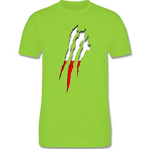 Länder - Polen Krallenspuren - Herren Premium T-Shirt Hellgrün