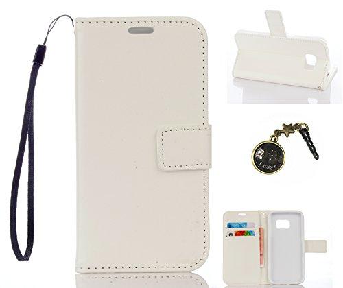 Preisvergleich Produktbild für Smartphone Samsung Galaxy S7 Hülle,Echt Leder Tasche für Samsung Galaxy S7 Flip Cover Handyhülle Bookstyle mit Magnet Kartenfächer Standfunktion + Staubstecker (4DD)
