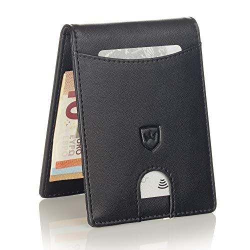 um Herren Portemonnaie Geldbeutel mit Geldklammer Portmonee Männer Geldbörse RFID Slim-Wallet Brieftasche Kreditkartenetui Kartenetui (Schwarz) ()