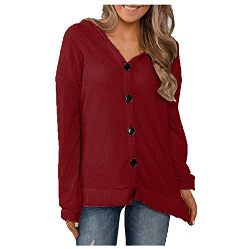 Deman outfit-Artistic9 Damen Pullover Hoodie Pullover Button-Down-V-Ausschnitt T-Shirts Waffel Strick Tunika Top Lose 2019 Damen Frühling Herbst Casual Active Bluse