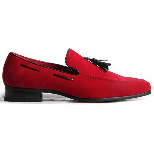 Rosselini - Mocassins pour hommes en daim avec point décoratif Rouge