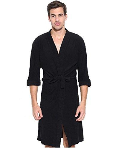 Elevanto Premium Collection 3/4Th Sleeve Terry Cotton Bathrobe-Free Size(Black-Men)