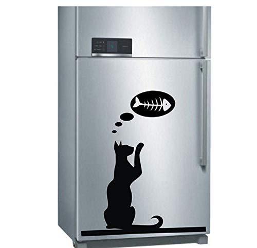 Mrlwy Hungrige Katze Möchten Fisch Muster Für Kühlschrank Computer Tapete Abnehmbare Klebstoffe Murals Decals Vinyl Aufkleber 40X46 Cm Essen (Fisch Möchten)