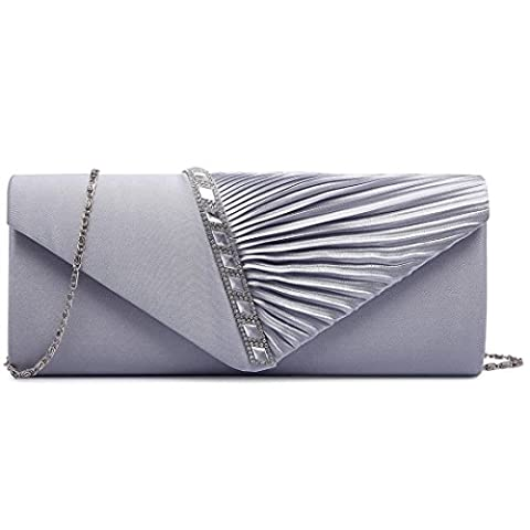 Miss Lulu New Ladies Satin Pleated Evening Party Wedding Prom Envelope Clutch Hand Bag (6682 Elegant Diamante Clutch