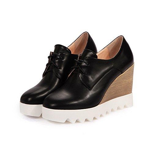 VogueZone009 Femme Lacet Carré à Talon Haut Pu Cuir Couleur Unie Chaussures Légeres Noir