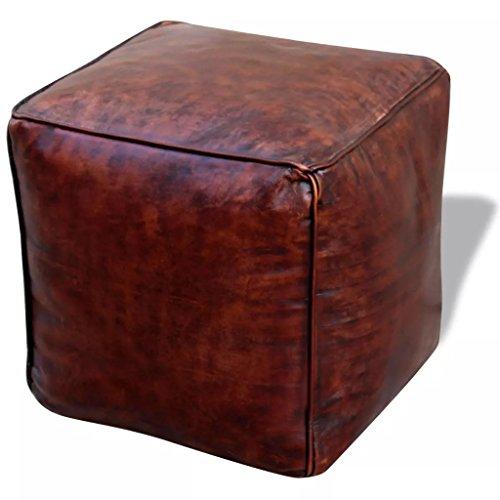 Lingjiushopping Sitzsack Quadratisch aus echtem Leder 45x 45x 45cm Farbe: Braun Material außen: echtes Leder