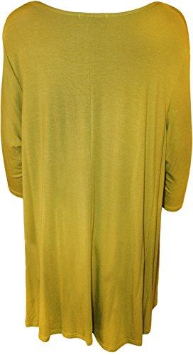 WearAll - Haut flottant avec une encolure degagée et à manches longues - Hauts - Femmes - Grandes tailles 42 à 56 Olive