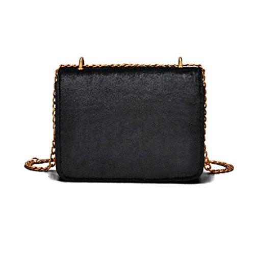 b1f2b037c9a92 ... Damen Samt Mini Kleine Quadratische Tasche Kettensack Schloss Schulter  Messenger Bag Mode Klassisch Elegant Black ...