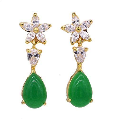 LOVE STUDIO,Ohrring grüne Jade Tropfen Ohrringe baumeln Schmucksache kleine helle grüne neue Jade 18K Gold überzogene Art und Weiseohrringe