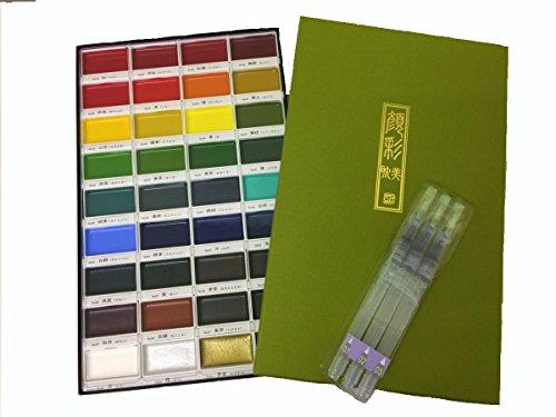 Kuretake Gansai Tambi 36colori Set (mc2036V) con jeindeer Arts acqua pennello penna punte assortite, confezione da 3