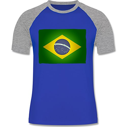 Länder - Flagge Brasilien - zweifarbiges Baseballshirt für Männer Royalblau/Grau meliert