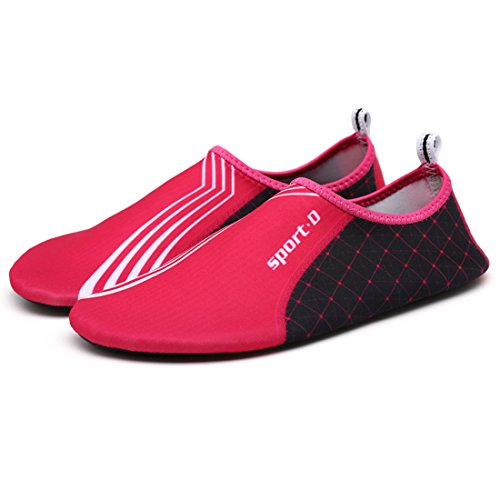 Cool&D Unisex Aquaschuhe Aqua Schuhe Atmungsaktiv Strandschuhe Schwimmschuhe Badeschuhe Wasserschuhe Surfschuhe für Damen Herren Kinder Rose
