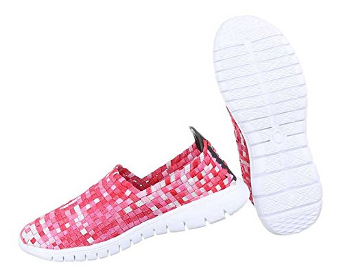 Damen Halbschuhe Schuhe Slipper Schwarz Rot