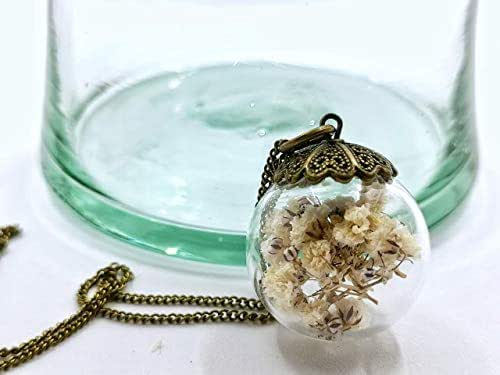 Collana inserimento di fiori bianchi di Gypsophila 25mm - pendente boema con inserimento di fiori naturali secchi - Regalo di San Valentino - Regali per lei - Prime
