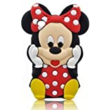 Cute 3D Minnie Silicone Cover Case For ipod touch 4(Red)