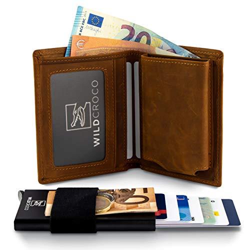 WildCroco WildCroco Kreditkartenetui - 2-in-1 Herren Portmonee mit herausnehmbaren Kartenetui - Slim Wallet mit RFID Schutzfunktion - Geldbeutel aus hochwertigem Leder I Geldbörse I Portemonnaie I EC Kartenetui