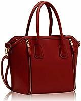 Damen rot Zip Design Tasche Leder Stil Handtasche KCMODE