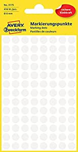Avery Colour Coding Dots, White - self-adhesive labels (White, White, Circle, Paper, 8 mm, 104 pc(s), 416 pc(s))
