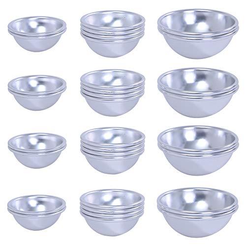 Onepine 32 Stücke Bath Bomb Mold Kit 16 Set 3 Größen DIY Metallform für hausgemachte Badebomben und basteln Sie Ihre eigenen Fizzles (32 Stücke / 16 Set)