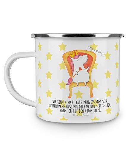 Mr. & Mrs. Panda Tasse, Kaffeetasse, Emaille Tasse Einhorn König mit Spruch - Farbe Weiß