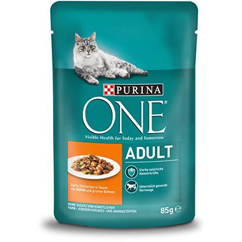 One Adult Katzenfutter mit Huhn und grünen Bohnen, 24er Pack (24 x 85 g)