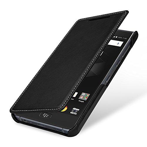 StilGut Book Type Lederhülle für BlackBerry Motion. Seitlich klappbares Flip-Case aus Echtleder, Schwarz Nappa