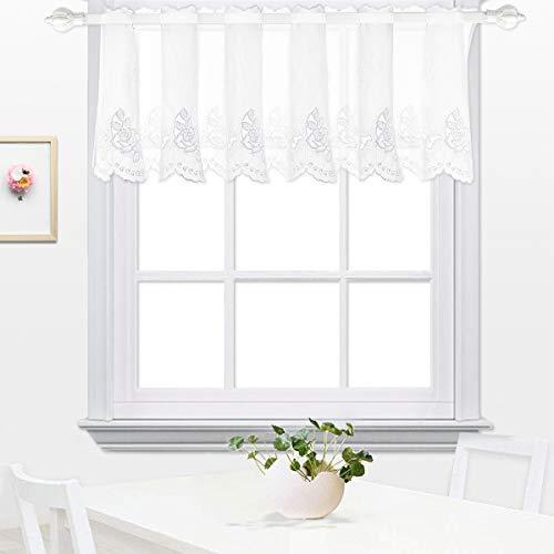 Mantovana tenda , tenda per finestre , cucina valances , tenda per cucina ricamata moderna trasparente floreale per sala caffè , da pranzo, bagno e salotto 45x145cm rosa bianco