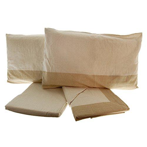 Completo lenzuola in flanella 100% cotone 2 piazze letto matrimoniale beige tortora (tortora)