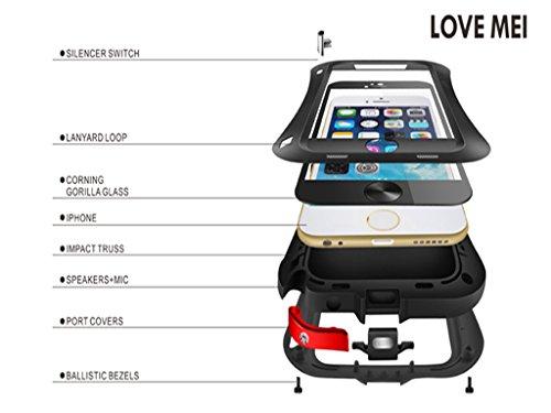 Love Mei Coque étanche Antichoc anti-pluie Anti-poussière Conception de taille Coque Etui Housse Couverture Case waterproof en Métal Aluminium pour iPhone 6 4.7 pouce (Argent) Rouge