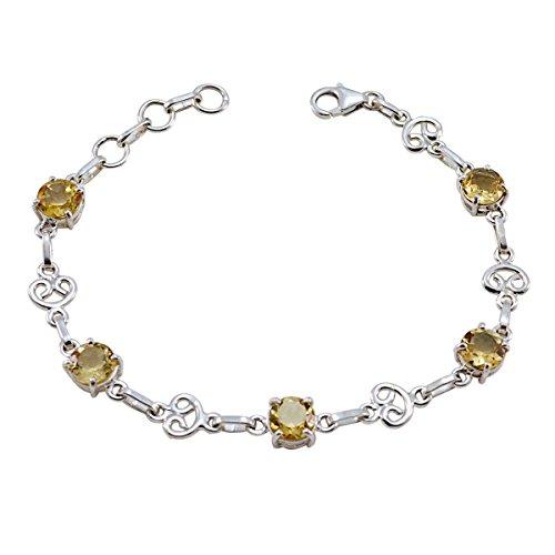 Sterling Silber Gelb Citrin facettiert Armband echtes Gems–Top Schmuck ideal Verkauf Gegenstände Geschenk für die Graduierung Forever Brilliant