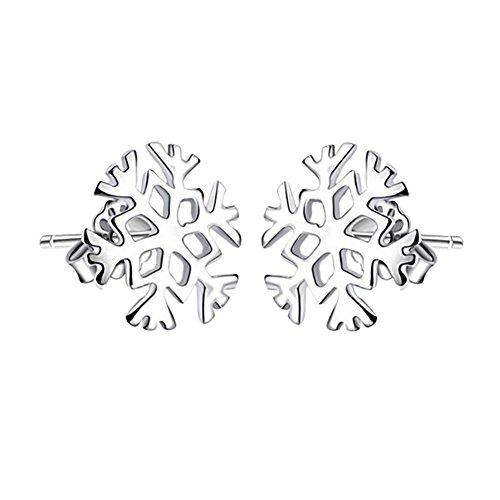Westeng Orecchini da Donna, in Lega di Placcatura Argento, Anallergico, motivo: fiocco di neve, 1 paio