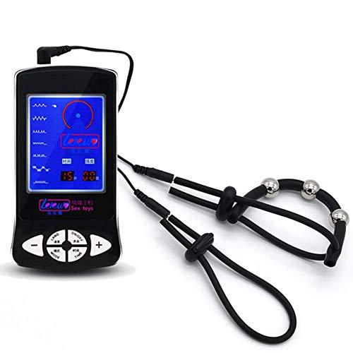 Kinxor Dispositivo electrónico de estimulación E-stim Dispositivo Stim Massager Anillos de pene en Silicona conductiva Bucles de electrodos