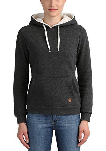 DESIRES Derby Pile Damen Kapuzenpullover Hoodie Sweatshirt mit Teddy-Innenfutter aus hochwertiger Baumwollmischung Dark Grey Melange (8288)