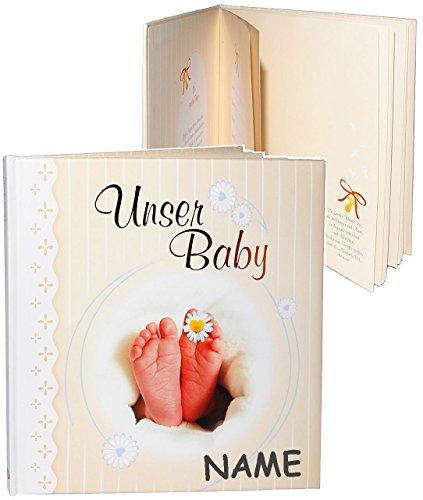 alles-meine.de GmbH Erinnerungsalbum / Babytagebuch / Fotoalbum -  unser Baby  - incl. Name - Gebunden zum Einkleben & Eintragen - Album & Erinnerungsbuch - Fotobuch / Photoalb..